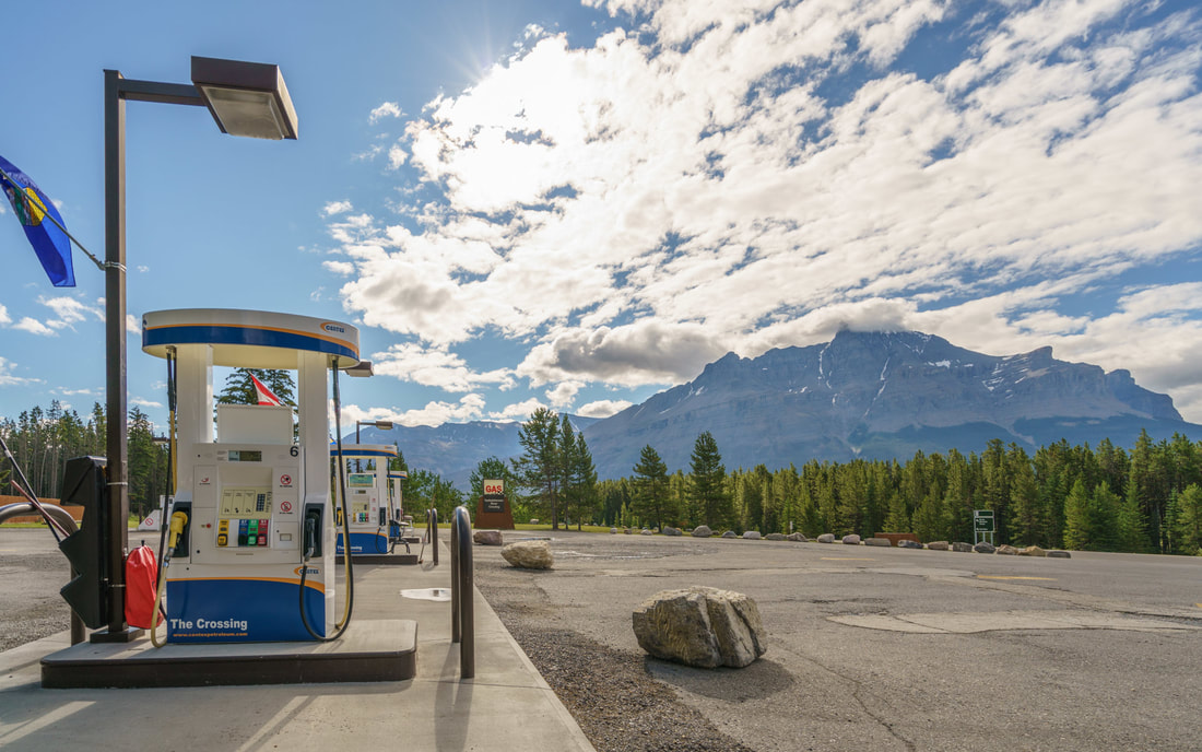 Gas and Diesel fill up at The Crossing Resort Icefields Parkway